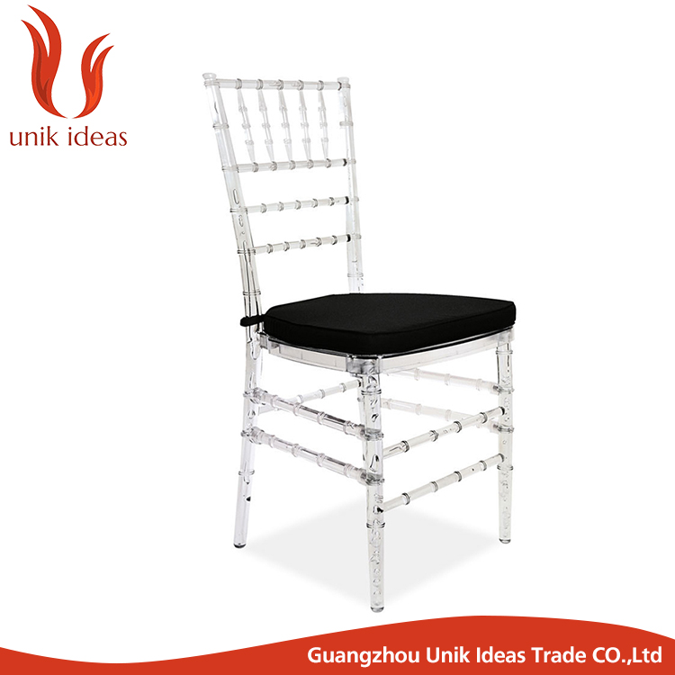 hot sale hotel banquet resin crystal clear wedding chair for event