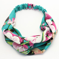 Hair Accessories Wide Fabric Elastic Cheap Knit Headband With Flower