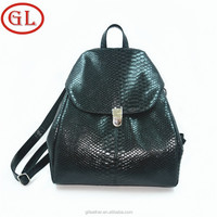New fashion promotional black PU material women leather backpack