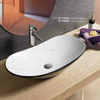 7811ABW Vessel shape above bathroom sink countertop Ceramic Black color washing basin