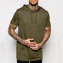 Fashion Hot Sale Men Bamboo Cotton Blank Hood T Shirt Short Sleeve Men T shirt