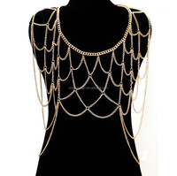 Fashion Women Sexy Girl Body Harness, gold slave body chain
