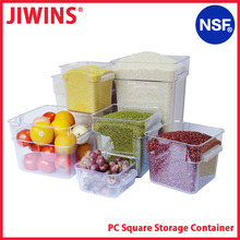NSF Certification Clear Square Plastic Food Storage Box With Lids And Handle