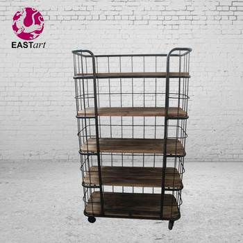Industrial style Iron wood furniture 5 layer display shelf