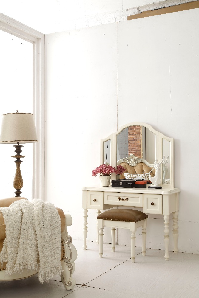 american style white wooden classic dresser with mirror