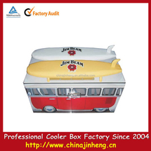 60L car shape metal locking cooler box with surfboard--logo printing available