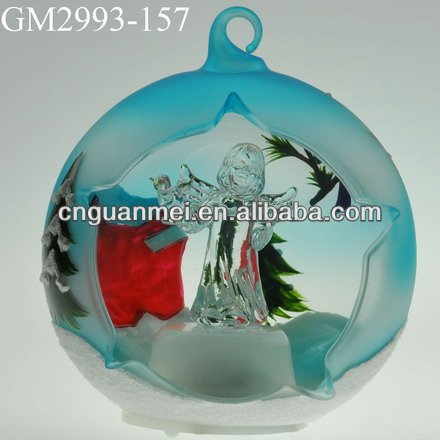 Wholesale color-painting forsted glitter christmas decoration ball with LED light
