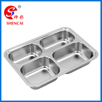 4 diveders stainless steel lunch plate serving tray Poplular fast food tray