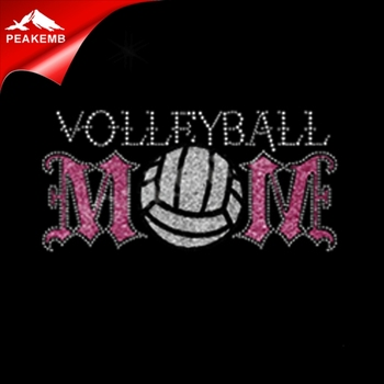 Beauty volleyball mom motif rhinestone transfer glitter vinyl transfer for tshirts