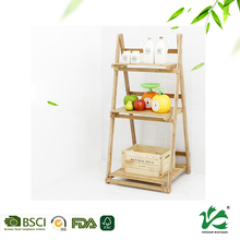 Simple wooden bamboo material flower shelf for garden or balcony
