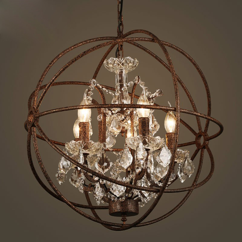 Vintage industrial Village earth globe rustic iron chandelier living room decorative crystal chandelier lamp