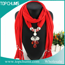 Excellent Online wholesale fashion scarf with pendant jewelry attached , lady scarf