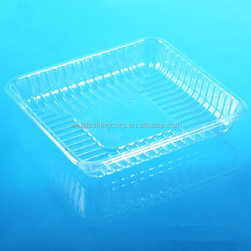 Widely Used square Disposable Plastic Vegetable and Fruit Packing Tray
