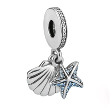 starfish shell charms silver 925 aquamarine cz custom <strong>pendant</strong> JF8938-M