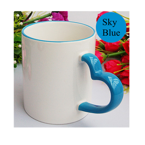 Blue heart shaped cup handle ceramic mug coffee porcelain cup manufacturer milk mugs