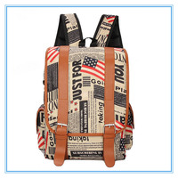 Unique design canvas and PU leather backpacks wholesale cheap map printed girls backpack bag with factory price