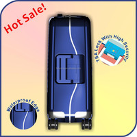 Fashionable luggage with Built-in caster with spinner wheel/waterproof plastic luggage with removable wheel