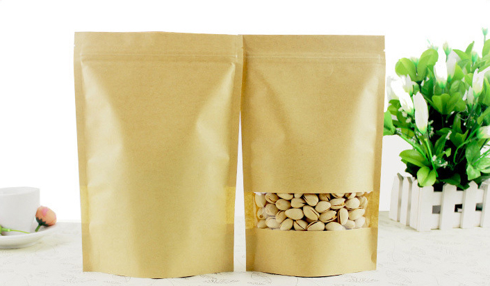 Ziplock plastic kraft paper bag for coffee tea packaging/food packaging bag with window craft paper bag