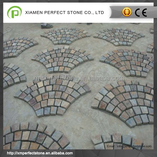 Natural Stone Flagstone With Mesh Backing For Paving Rustic Slate