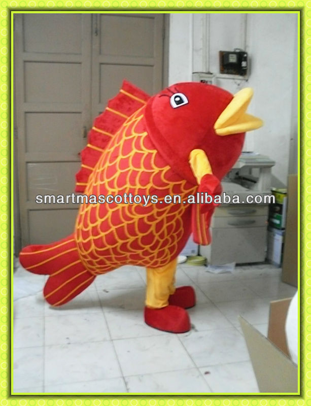 Hot sale EVA plush material red carp mascot costume for adult carp mascot costume for promotion usage