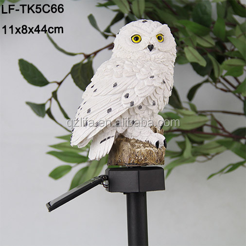 wholesale owl decoration solar light,resin stake lighting products white garden owl