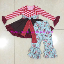 Newest Fall Giggle Moon Remakes Children Boutique Clothing Sets Girls Thanksgiving Days Ruffled Pants Outfits