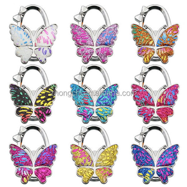Factory supply high quality foldable butterfly bag hanger table purse hook