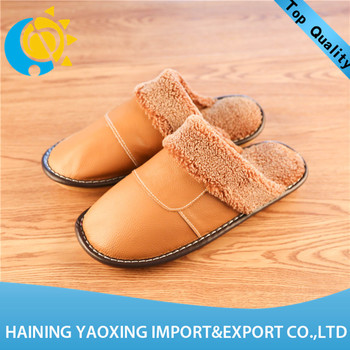 Popular genuine leather indoor slippers for women no MOQ manufacturer