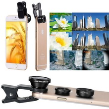 3 in 1 Fish eye Lens selfie Wide Angle mobile phone fisheye Lenses For iPhone 7 7 plus For ipad Smartphone Camera lens