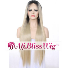 "26"" Long Straight Heat Resistant Japanese Fiber Hair 1B Roots Two Tone Ombre 613 Blonde Synthetic Full Lace Wig for Black Women"