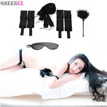 Adult Products For Couples Under Bed Restraint Fetish Bondage Restraints Slave Bed Restraints With Eye Mask And Feather Tickler