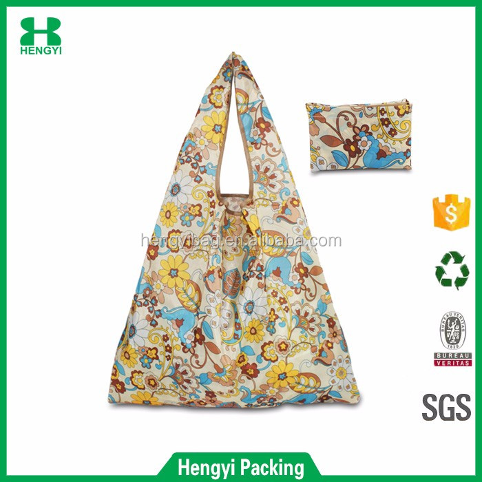 New arrival promotional flower print 190T polyester foldable shopping bag with various print and sizes