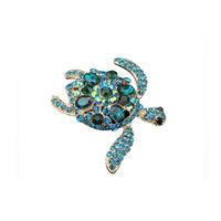 45mm Turtles Brooch Pins Light Blue Austrian Rhinestone Crystal Jewelry
