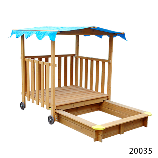 Outdoor wooden canopy kids sandpit popular design