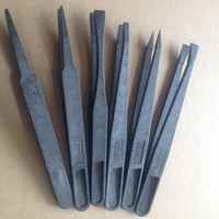 High Quality Cleanroom Black Plastic Conductive Tweezer