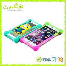 "Cartoon Universal silicone bumper case cover with holder for 4"" - 7"" mobile phone"