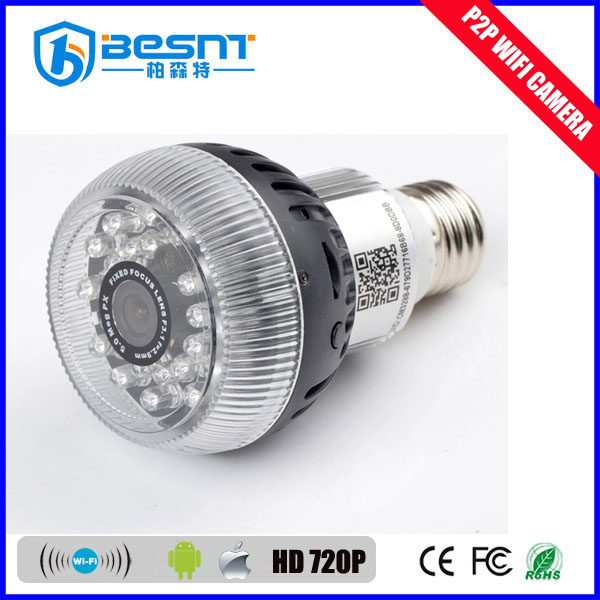 BESNT 720p/1080p wifi light bulb camera with ir leds support 32gb sd card wireless p2p mini dv camera BS-W12A