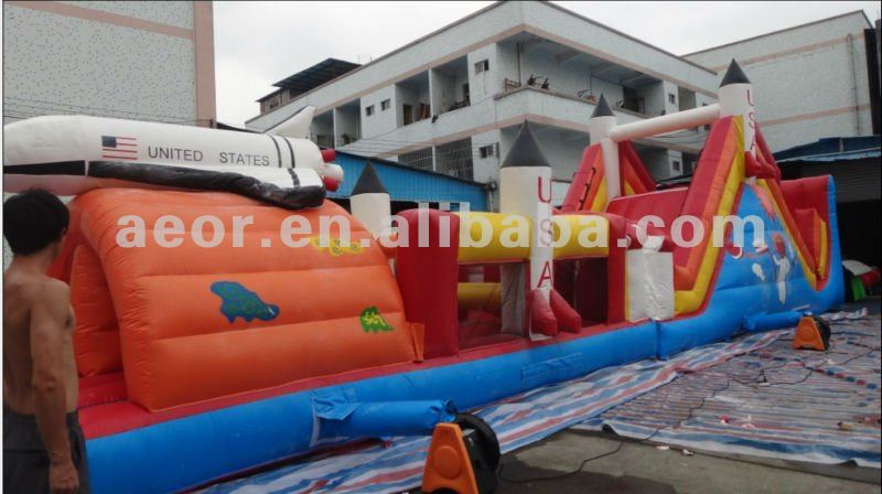2012 Newly Inflatable Rocket obstacle course games for kids