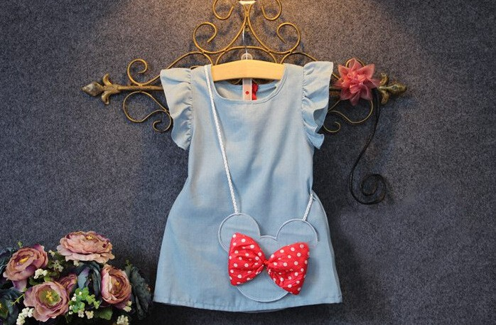 2017 Summer fly sleeve Denim vest Dresses Girls Sleeveless princess Dress with mickey cute bag Kids children clothes dres