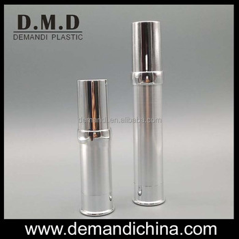 5ml 10ml 15ml empty silver airless pump bottles for cosmetics