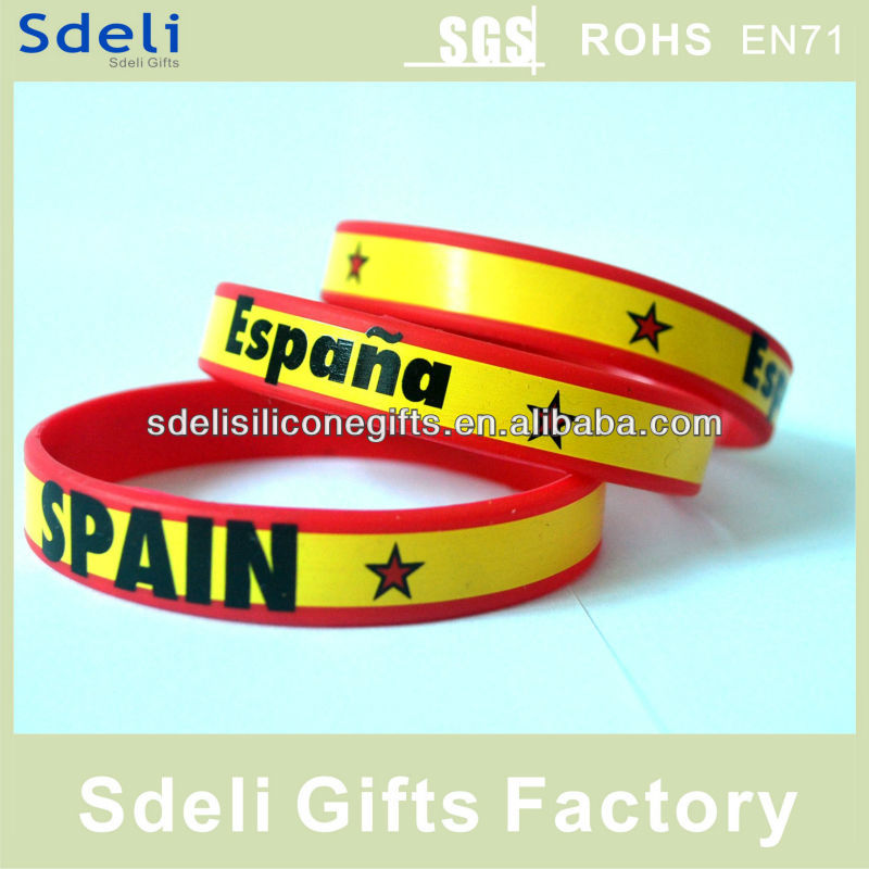 World Cup promotion gift silicone wristband/silicone bracelet with printed for Spain