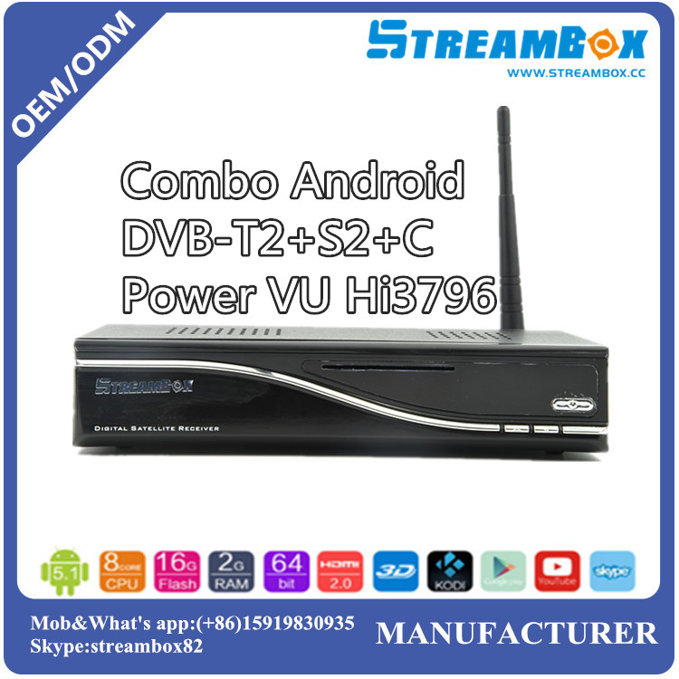 Combo DVB-S2+T2+C Power VU Hi3796 USB Blue3.0 IKS CCCam HD Smart Android4.2 TV iptv recorder Box