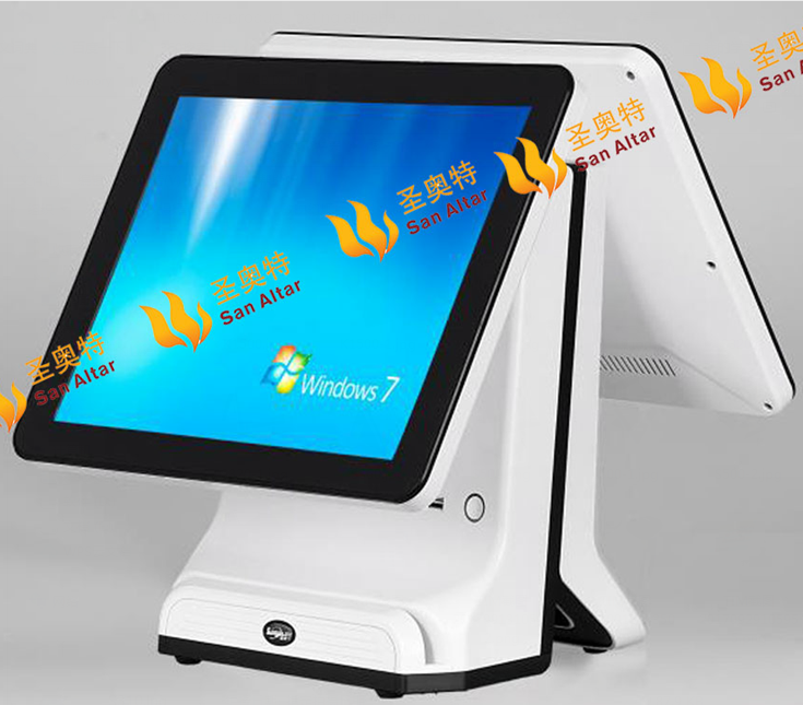 "2017 New Dual 15"" All in one touch screen pos terminal restaurant pos machine cinema concession retail pos system"