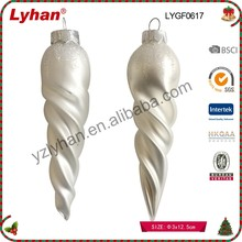 traditional white glass Christmas icicle for Christmas home decoration