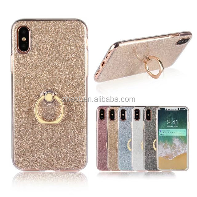 2 in 1 Glitter For iPhone 8 case, new design tpu phone case with finger ring holder case for iphone 8
