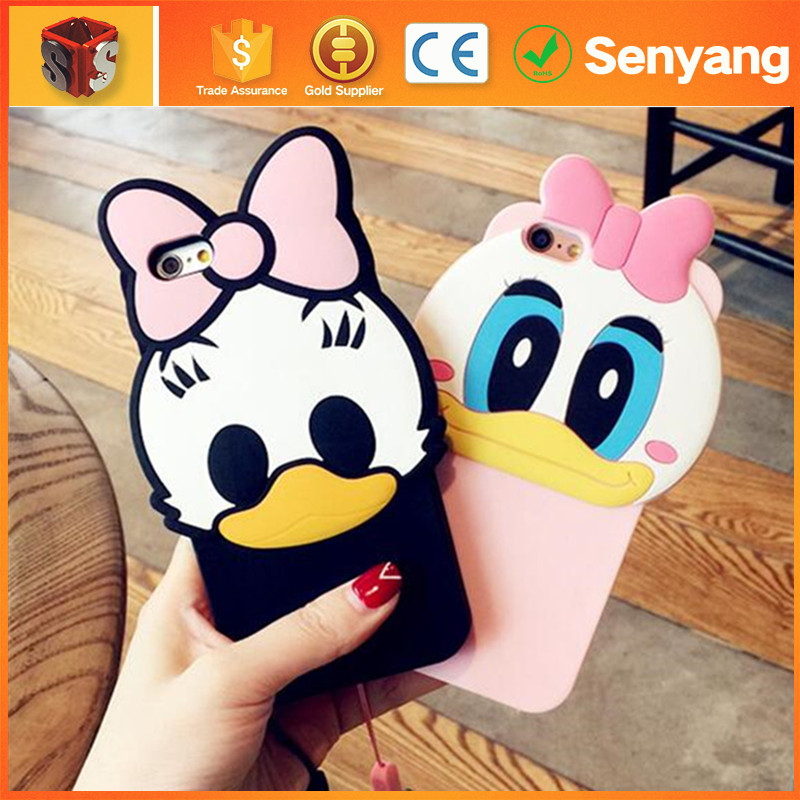 2016 Trending Products Innovative 3d Silicone Donald Duck For Cute Iphone 7 Case