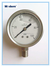 Modern All stainless steel Liquid Filled Pressure Gauge 100psi