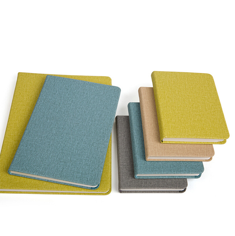 A5 Case Bound Round Corners Fabric Hard Cover Notebook With Thick Paper