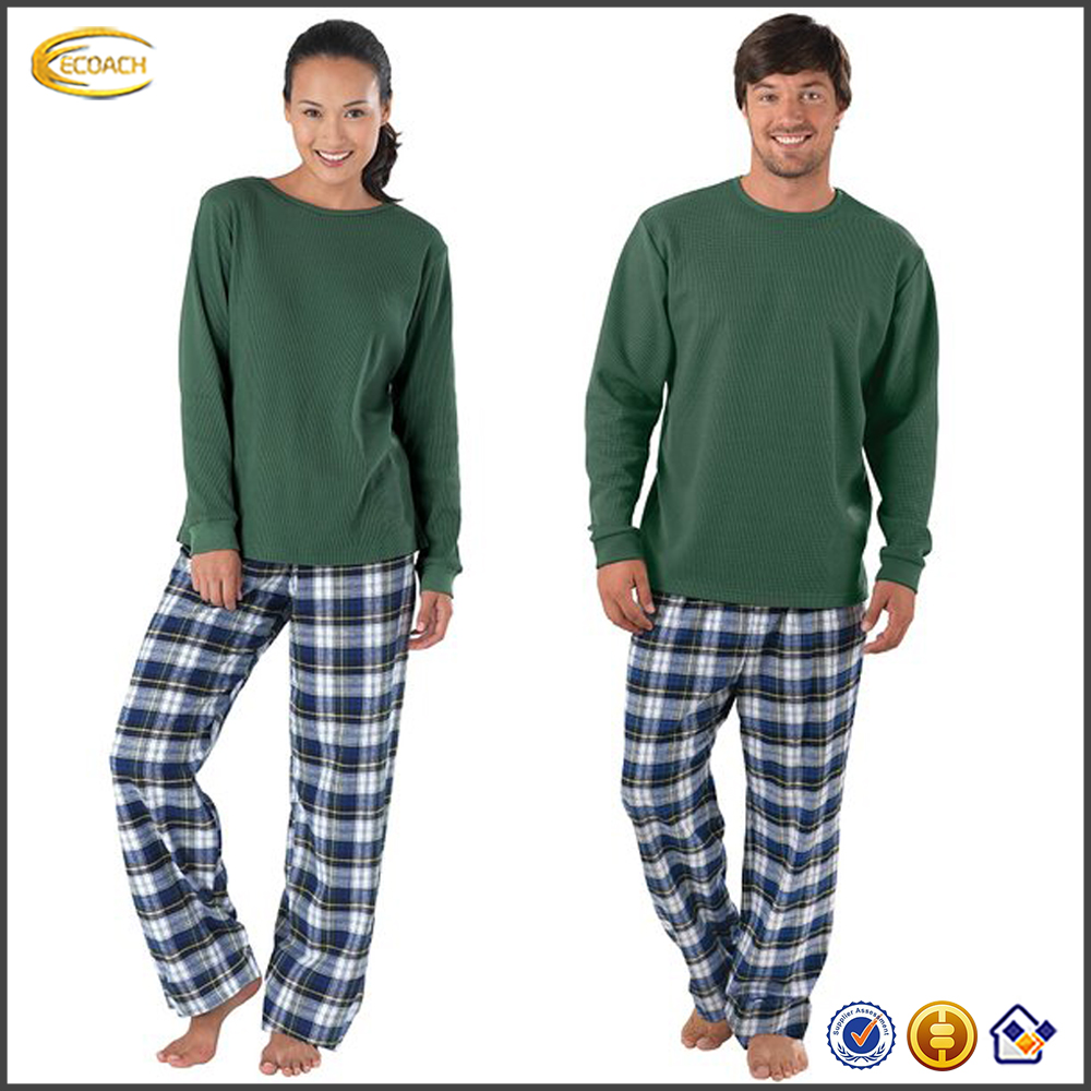 Ecoach couple pajamas homewear 100%cotton long sleeve super soft summer couple pajamas sets couple onesie