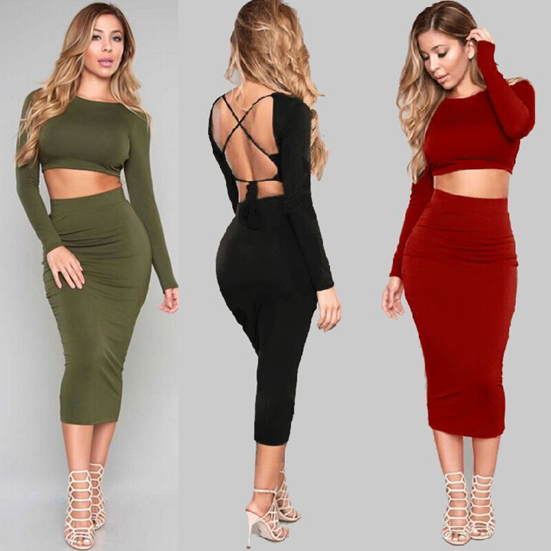 Two pieces of long sleeved dress Bodycon Sexy Ladies Dress MT120402